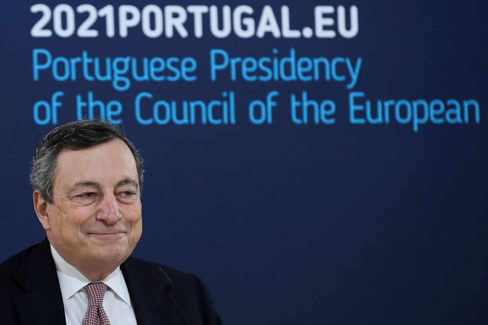 Italy's Prime Minister Mario Draghi speaks during a media conference at an EU summit in Porto, Portugal May 8, 2021. Paulo Novais/Pool via REUTERS (Photo: POOL via REUTERS)