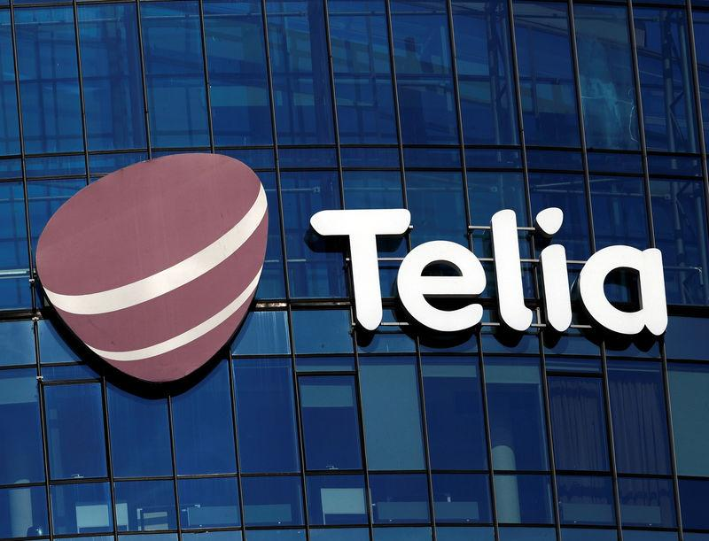 FILE PHOTO: Telia sign is seen on a building in Vilnius