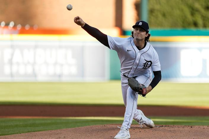 Detroit Tigers starting pitcher Casey Mize (12) delivers a pitch against Kansas City Royals during first inning  at Comerica Park in Detroit on Wednesday, May 12, 2021.