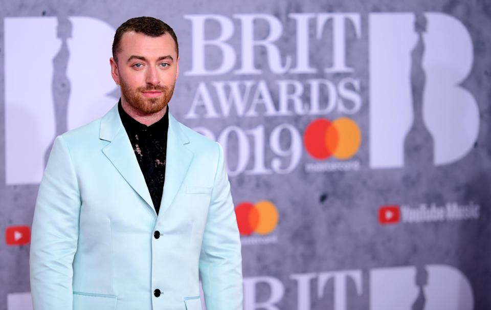 Sam Smith attending the Brit Awards 2019 at the O2 Arena, London.