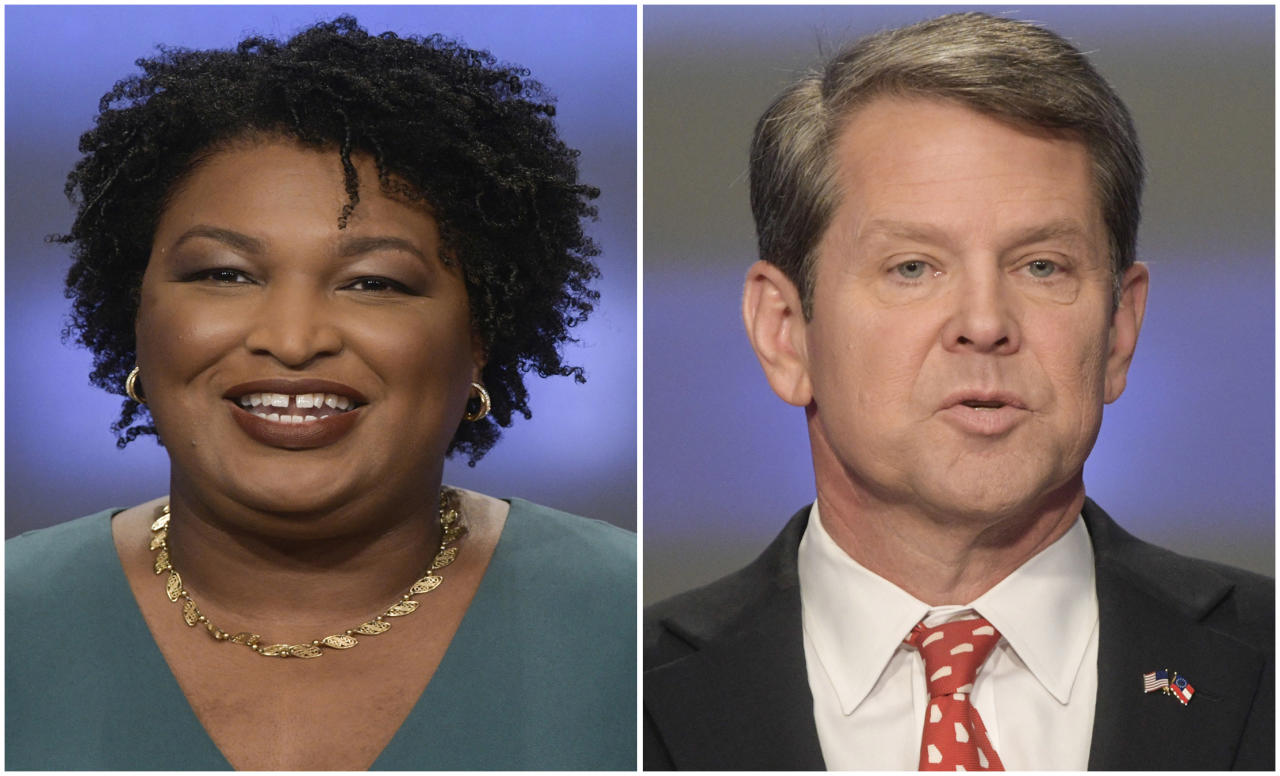 FILE - This combination of May 20, 2018, file photos shows Georgia gubernatorial candidates Stacey Abrams, left, and Brian Kemp in Atlanta. Kemp has unveiled a $90 million proposal for school security focused on mental health and local control. But absent from his plan was any mention of the topic that has dominated the national conversation around school safety: guns. Abrams' campaign said that gun safety measures are essential to keeping Georgia's schoolchildren safe. (AP Photos/John Amis, File)