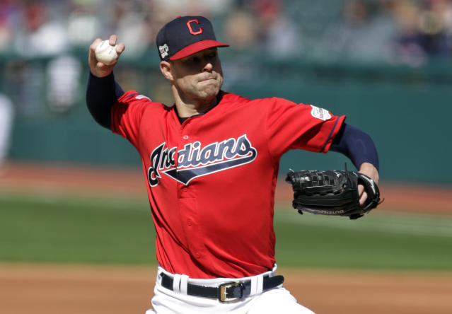 Cleveland Indians starting pitcher Corey Kluber delivers to the Atlanta Braves in the first inning during the first game of a baseball doubleheader, Saturday, April 20, 2019, in Cleveland. (AP Photo/Tony Dejak)