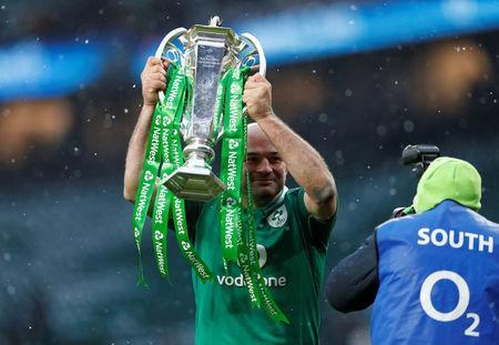 Rugby Union - Six Nations Championship - England vs Ireland - Twickenham Stadium, London, Britain - March 17, 2018 Ireland's Rory Best celebrates with the Six Nations trophy at the end of the match Action Images via Reuters/Andrew Boyers