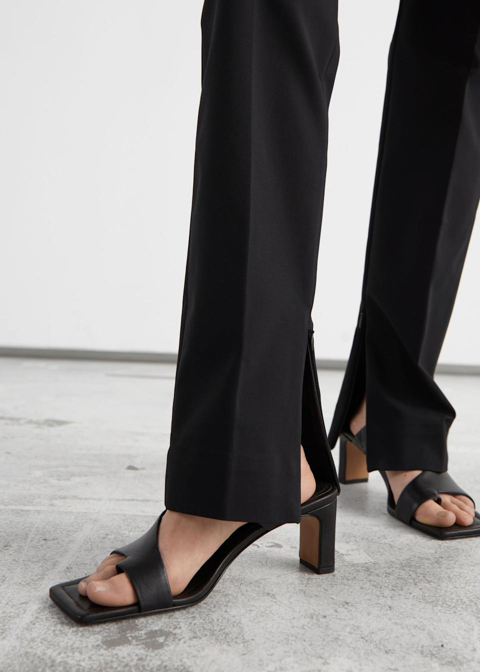 <p>The details of these <span>&amp; Other Stories Slim Zip-Cuff Trousers</span> ($79) make them stand out.</p>