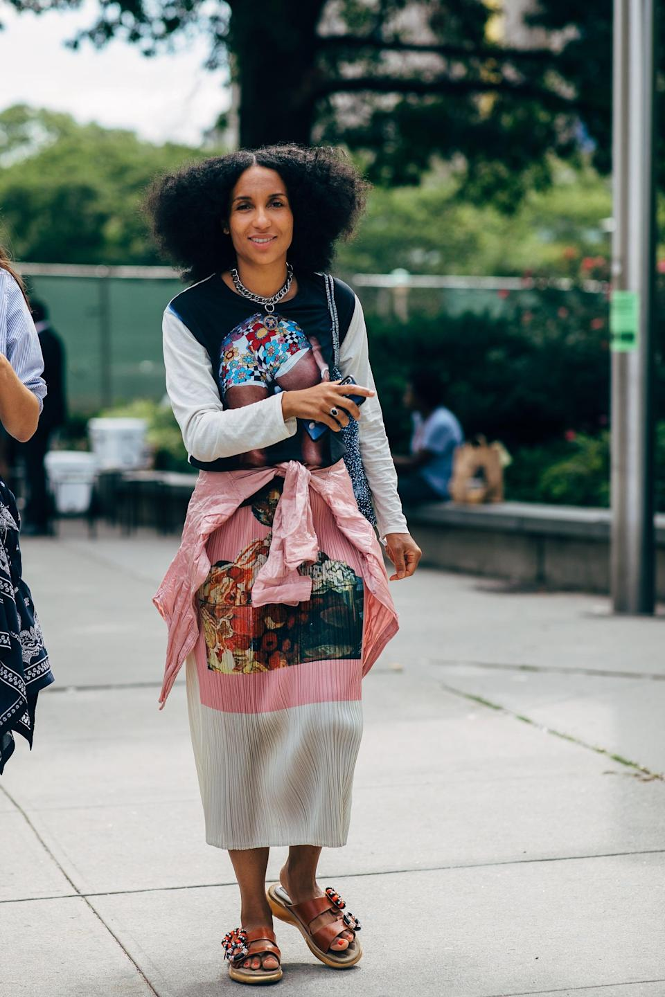 <p>Pro tip: a graphic T-shirt is an easy way to dress down a statement skirt. </p>