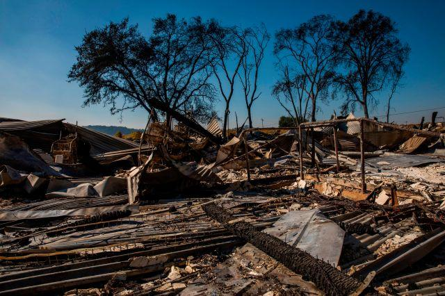 Rubble remains after the Soda Rock Winery was lost in the Kincade Fire, in Healdsburg, California on Oct 28.