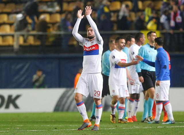 Soccer Football - Europa League Round of 32 Second Leg - Villarreal vs Olympique Lyonnais - Estadio de la Ceramica, Villarreal, Spain - February 22, 2018 Lyon's Lucas Tousart celebrates after the match REUTERS/Heino Kalis