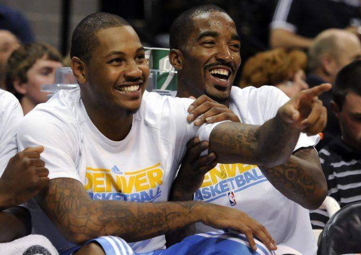 Carmelo Anthony and J.R. Smith go way back. (AP)
