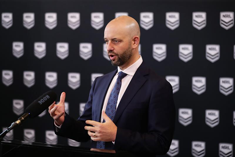 NRL CEO Todd Greenberg speaks to the media during a NRL Press Conference at Rugby League Central on March 16, 2020 in Sydney, Australia. The NRL provided an update on their season schedule as it is impacted by the COVID-19 Pandemic. (Photo by Matt King/Getty Images)