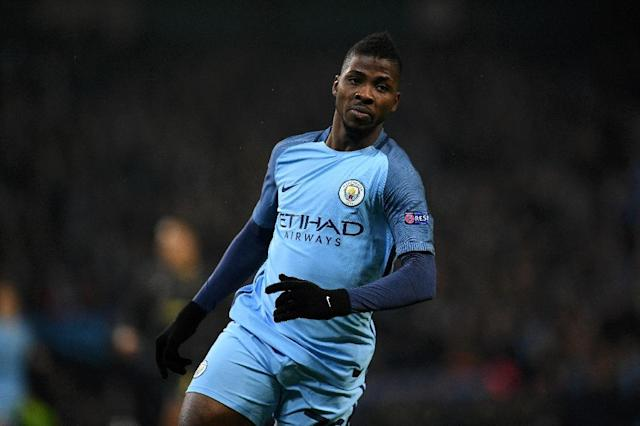 Manchester City's striker Kelechi Iheanacho celebrates scoring his team's first goal during the UEFA Champions League group C football match between Manchester City and Celtic at the Etihad Stadium in Manchester, northern England, on December 6, 2016 (AFP Photo/Paul ELLIS)