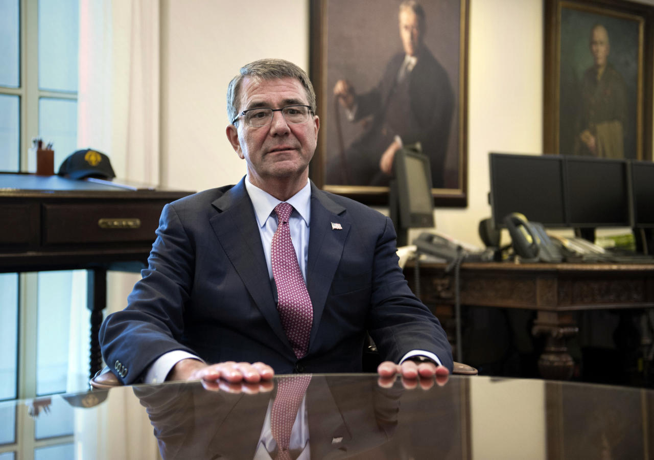 <p> Secretary of Defense Ash Carter is interviewed in his Pentagon office, Wednesday, Jan. 18, 2017. Sending thousands more American troops into Iraq or Syria in a bid to accelerate the defeat of the Islamic State group would push U.S. allies to the exits, create more anti-U.S. resistance and give up the U.S. military's key advantages, Carter said in an Associated Press interview.(AP Photo/Cliff Owen) </p>
