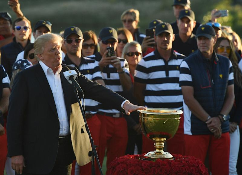 Image result for trump receiving trophy