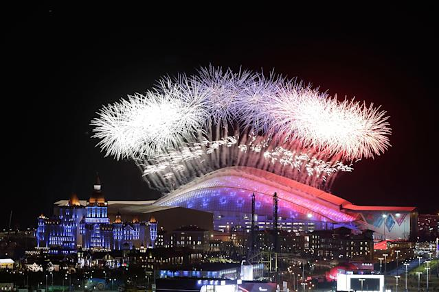SOCHI, RUSSIA - FEBRUARY 07: A general view of fireworks over Fisht Olympic Stadium during the Opening Ceremony of the Sochi 2014 Winter Olympics on February 7, 2014 in Sochi, Russia. (Photo by Joe Scarnici/Getty Images)