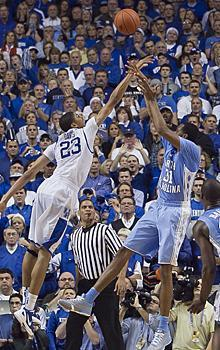 Anthony Davis jumped out to block John Henson's shot in the closing seconds, sealing a dramatic win for Kentucky