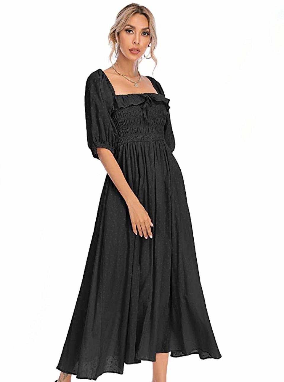 """Another <a href=""""https://www.glamour.com/gallery/things-to-buy-through-glamour-rewards?mbid=synd_yahoo_rss"""" rel=""""nofollow noopener"""" target=""""_blank"""" data-ylk=""""slk:peasant dress"""" class=""""link rapid-noclick-resp"""">peasant dress</a>, you say? It's the square-neck, ruffle trim, and balloon sleeves for me. $30, Amazon. <a href=""""https://www.amazon.com/R-Vivimos-Ruffled-Vintage-Elegant-Backless/dp/B089CJ5KF7"""" rel=""""nofollow noopener"""" target=""""_blank"""" data-ylk=""""slk:Get it now!"""" class=""""link rapid-noclick-resp"""">Get it now!</a>"""