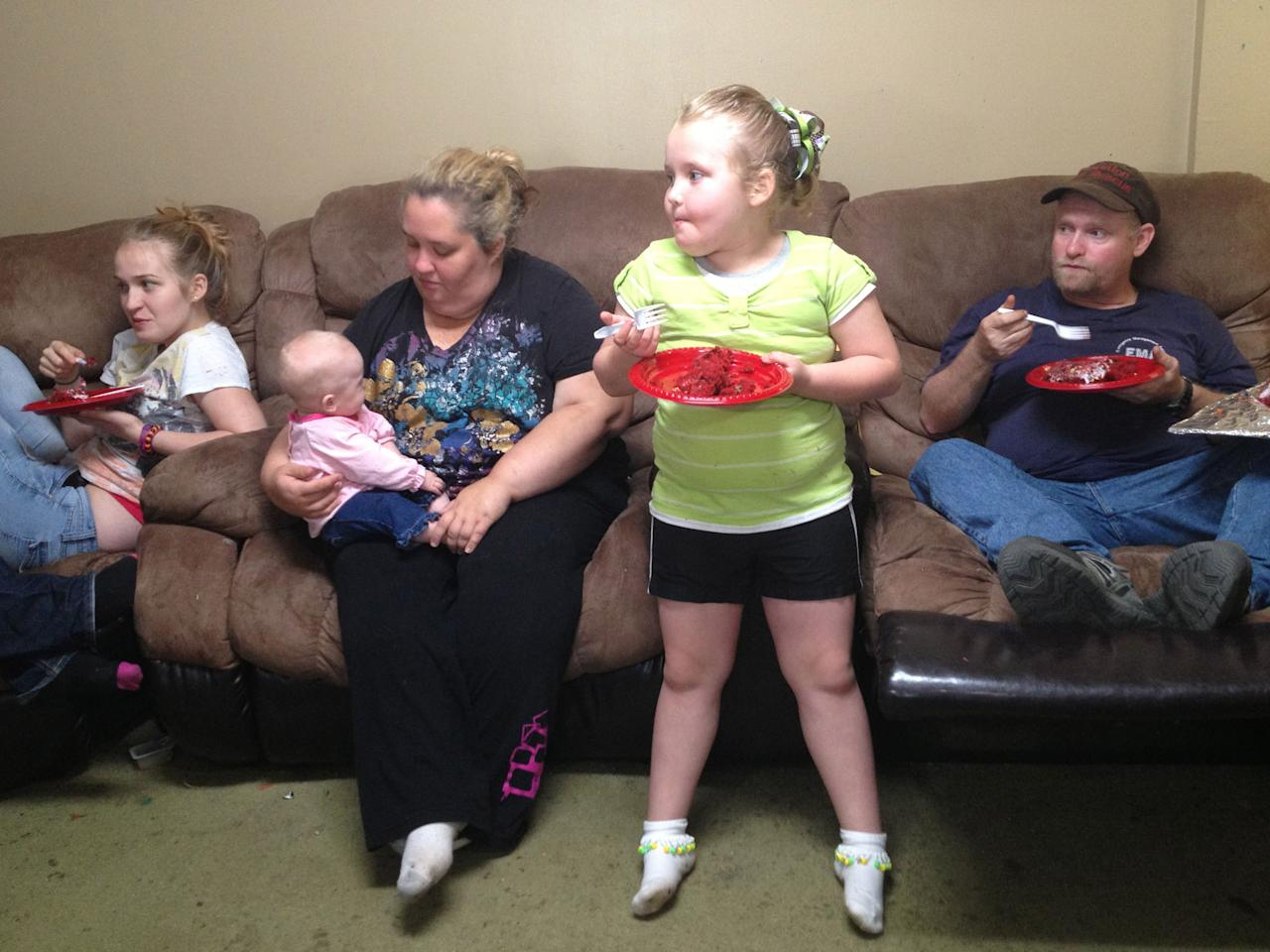 "Honey Boo Boo (Alana Thompson) eating cake in Season 2 of TLC's ""Here Comes Honey Boo Boo."""