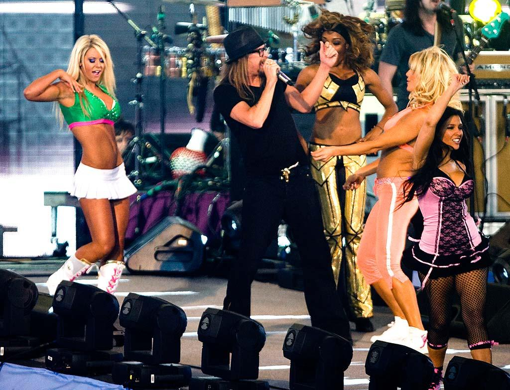 "After CM Punk won the Money in the Bank ladder match, Kid Rock rocked Houston's Reliant Stadium with a medley of his hits, including ""Bawitdaba,"" ""Cowboy,"" ""All Summer Long,"" and ""So Hott."" London Entertainment/<a href=""http://www.splashnewsonline.com"" target=""new"">Splash News</a> - April 5, 2009"