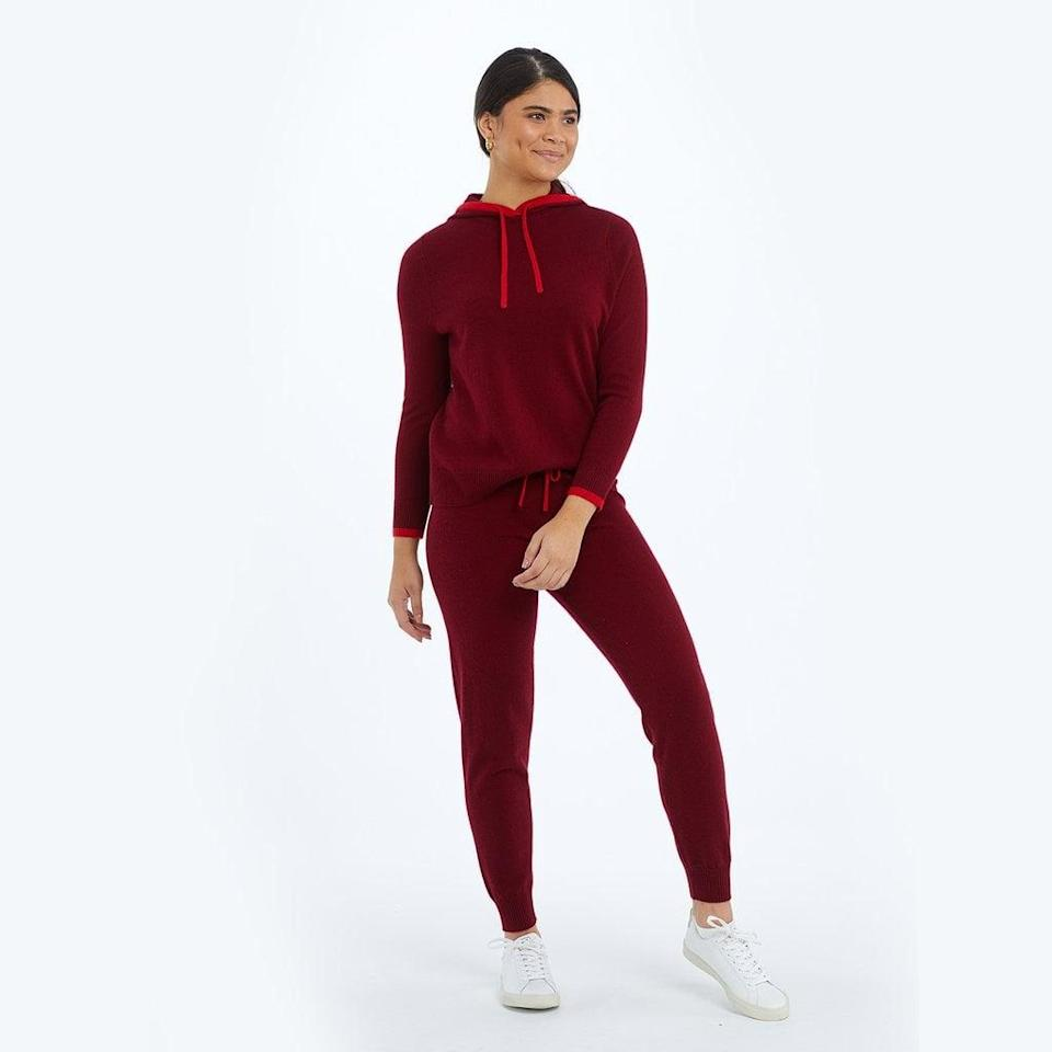 <p>The red shade of this cozy <span>Summersalt The Coziest Cashmere Blend Jogger</span> ($95) and <span>Hoodie</span> ($125) is perfect for nights in.</p>