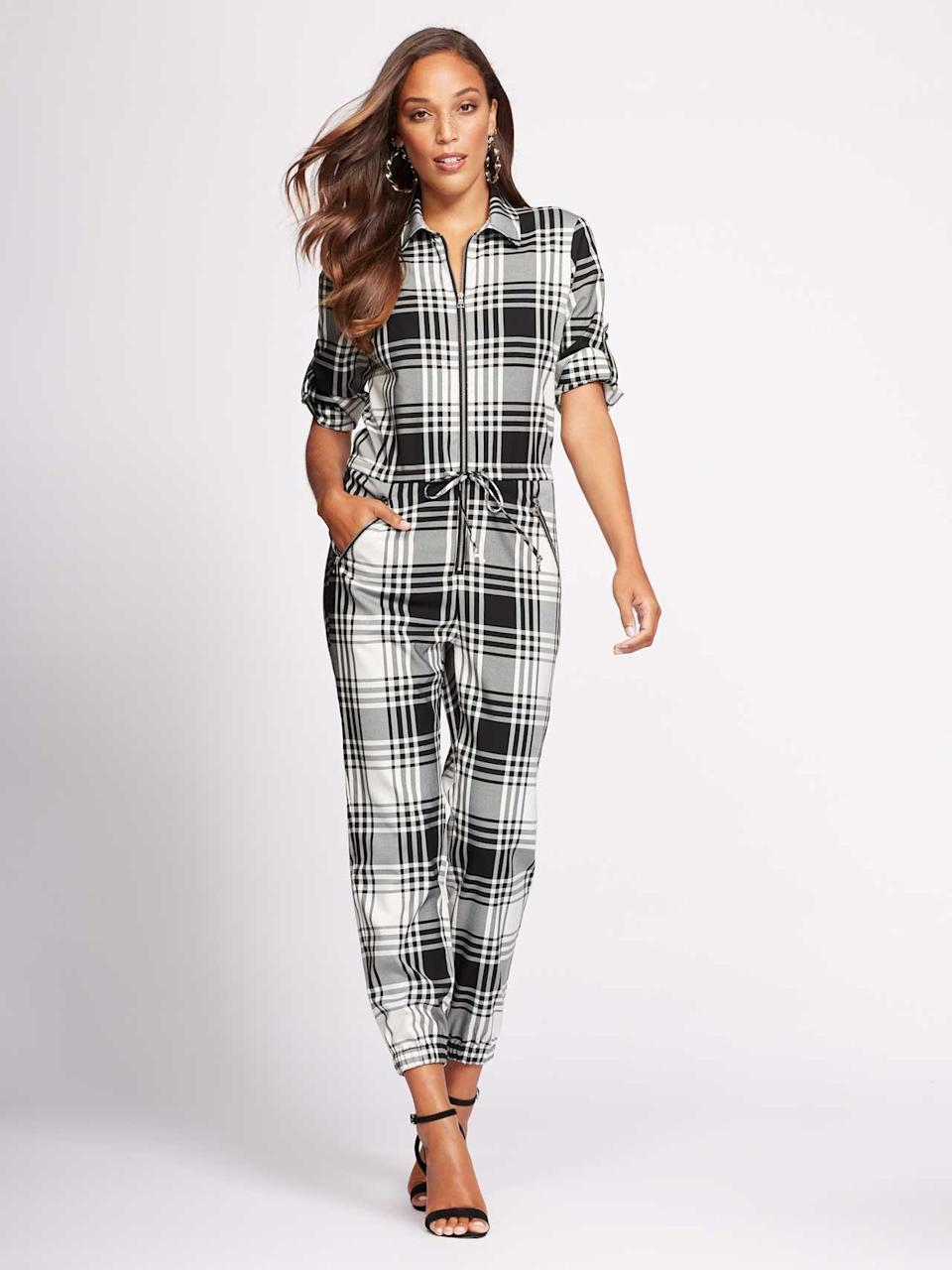 Plaid utilitarian jumpsuit. (Photo: Courtesy of New York & Company)