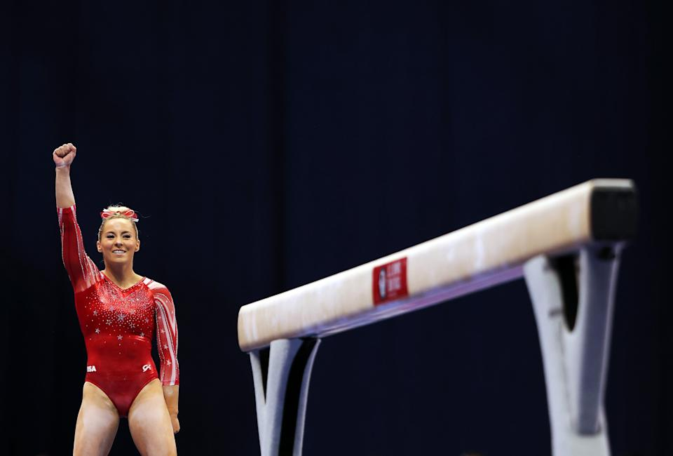 MyKayla Skinner reacts after landing her dismount off the balance beam during the 2021 U.S. Gymnastics Olympic Trials at The Dome at the America's Center on June 25, 2021, in St Louis, Missouri.