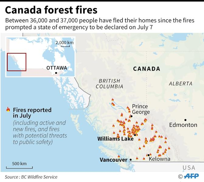 Map of Canada locating forest fires reported in July, which have prompted thousands to flee their homes (AFP Photo/Laurence CHU)