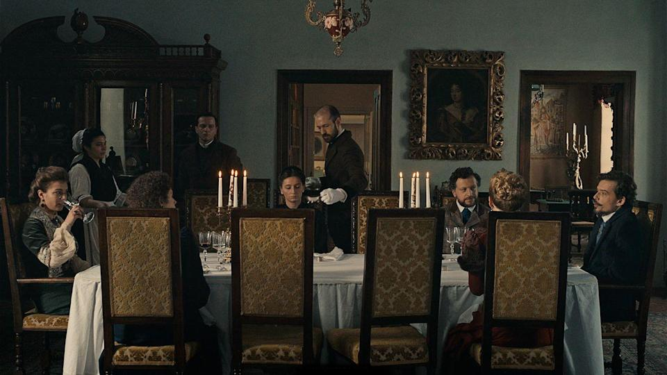 <p>This drawing-room drama from Romanian director Cristi Puiu makes your cringeworthy family holiday look peaceful and even—dare we say—like something to look forward to. It's Christmas Eve at a sprawling Transylvanian estate owned by an elite European family. This seemingly benign setting turns increasingly absurd and intense as the dinner guests talk at length about matters of war, death, morality, religion, and other totally casual topics. Come for the gorgeous snowy landscapes and brooding stares, stay for the heady philosophical sparring matches.<br></p>