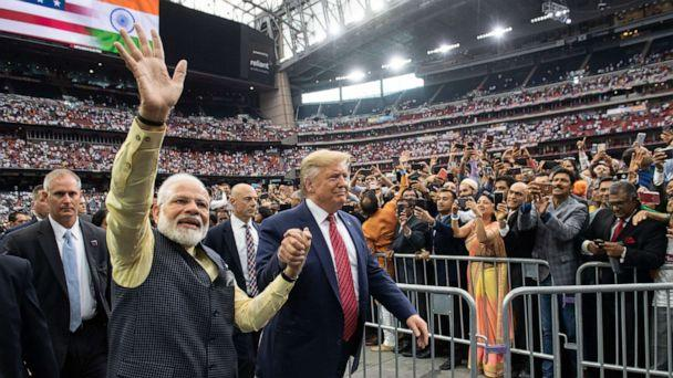 PHOTO: President Donald Trump and Indian Prime Minister Narendra Modi attend 'Howdy, Modi!' at NRG Stadium in Houston, Sept. 22, 2019. (Saul Loeb/AFP via Getty Images, FILE)