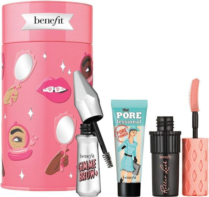 """<h2>Benefit Cosmetics Beauty Thrills Eyes, Brows & Face Mini Holiday Value Set<br></h2><br>Being forced to choose between primer, mascara, and brow gel is unfair, so pick up this set with three of Benefit's bestsellers.<br><br><strong>Benefit Cosmetics</strong> Benefit Cosmetics Beauty Thrills Eyes, Brows & Face Mini Holiday Value Set, $, available at <a href=""""https://go.skimresources.com/?id=30283X879131&url=https%3A%2F%2Fwww.ulta.com%2Fbeauty-thrills-eyes-brows-face-mini-holiday-value-set%3FproductId%3Dpimprod2018655"""" rel=""""nofollow noopener"""" target=""""_blank"""" data-ylk=""""slk:Ulta Beauty"""" class=""""link rapid-noclick-resp"""">Ulta Beauty</a>"""