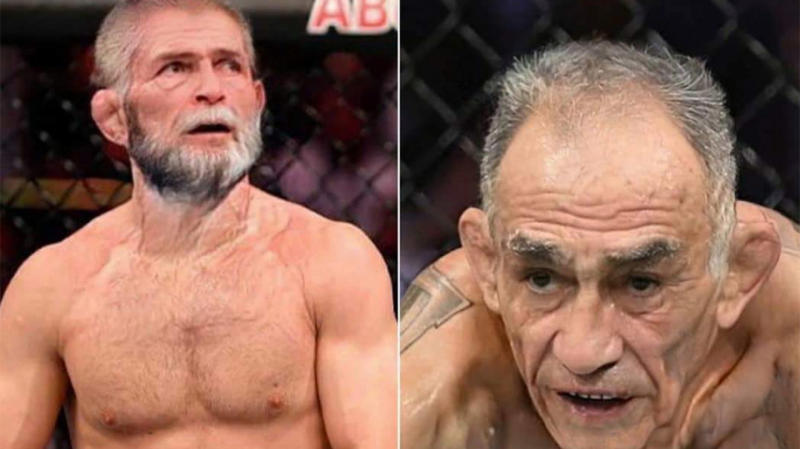 Khabib Nurmagomedov (pictured left) look up and Tony Ferguson (pictured right) looking at his opponent.
