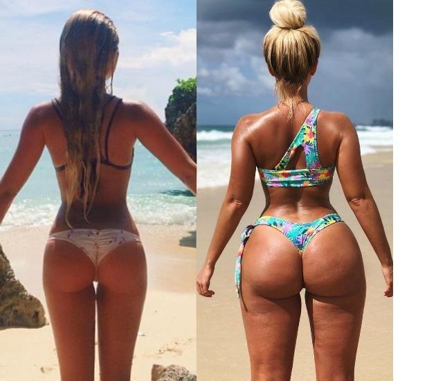 Moana Bikini designer Karina Irby revealed her booty transformation and hit back at the 'trolls' who called her fat. Source: Instagram / karinairby