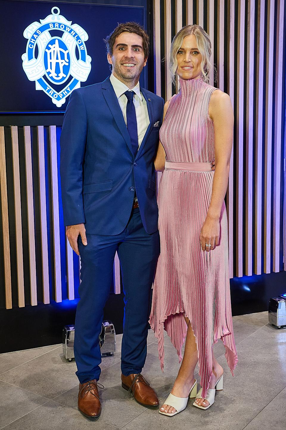 Andrew Gaff and partner Emma Van Woerden pose for a photo during the 2020 Brownlow Medal Count at Optus Stadium on October 18, 2020 in Perth, Australia.