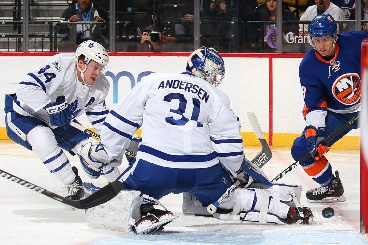 Frederik Anderson has seen a lot of pucks get through him late in games. (Getty Images)