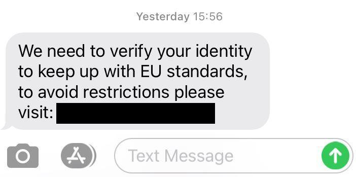 A copy of the Brexit-themed scam text message
