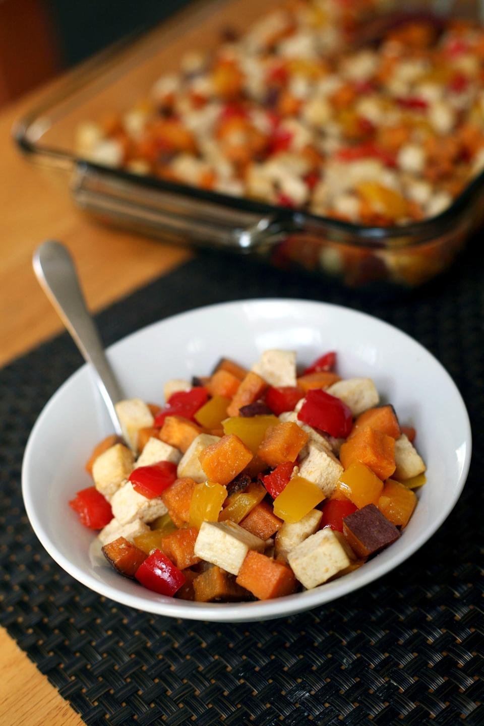 """<p>All you need for this recipe are basically three ingredients, one pan, and your oven.</p> <p><strong>Get the recipe:</strong> <a href=""""https://www.popsugar.com/fitness/Roasted-Tofu-Sweet-Potato-Pepper-1-Pan-Meal-43540555"""" class=""""link rapid-noclick-resp"""" rel=""""nofollow noopener"""" target=""""_blank"""" data-ylk=""""slk:roasted tofu, sweet potato, and pepper savory breakfast"""">roasted tofu, sweet potato, and pepper savory breakfast</a></p>"""