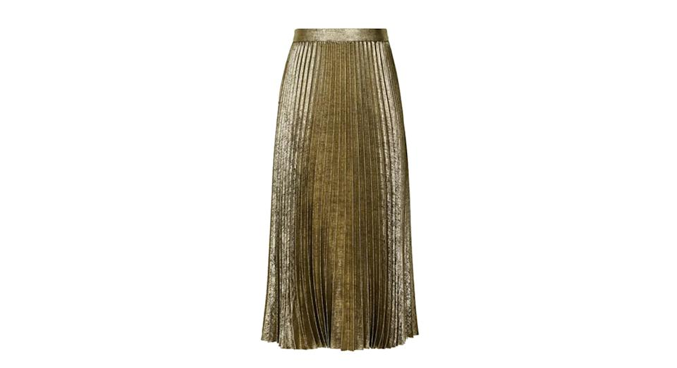 Gemma Metallic Pleated Midi Skirt