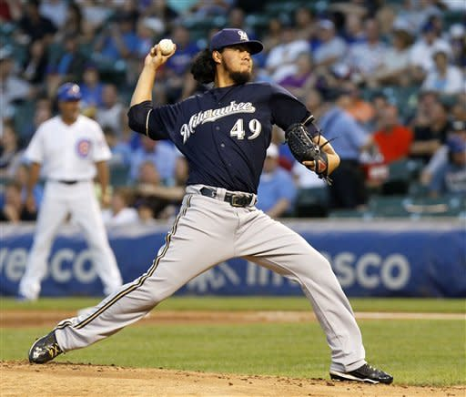 Milwaukee Brewers starting pitcher Yovani Gallardo delivers during the first inning of a baseball game against the Chicago Cubs Tuesday, Aug. 28 2012, in Chicago. (AP Photo/Charlie Arbogast)