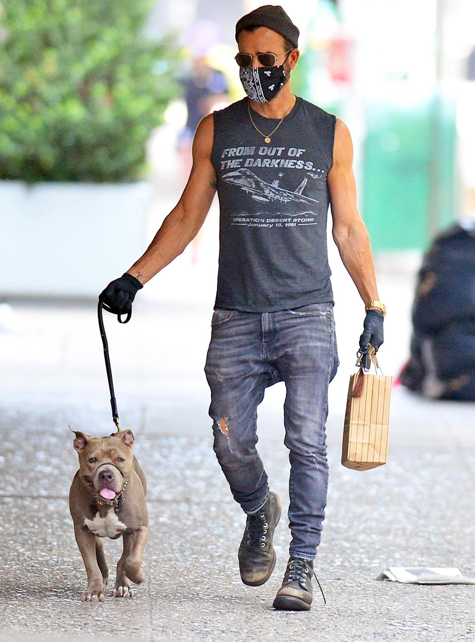 <p>Another day, another dog walk for Justin Theroux, who leads his pup around N.Y.C. on Monday.</p>