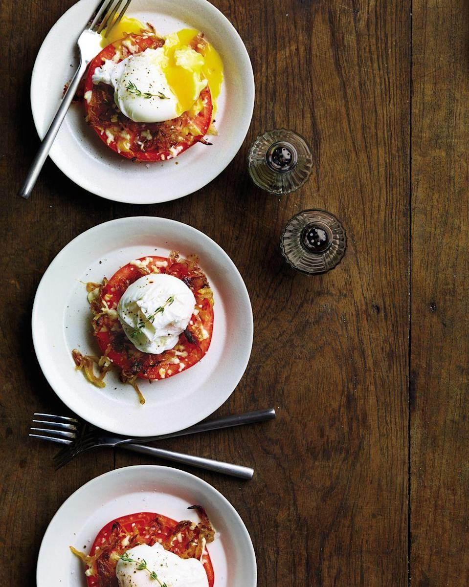 """<p>Like a reimagined eggs Benedict, this recipe is particularly high in protein. The acid of the tomato and the smoke of the mozzarella perfectly complement a poached egg on top.</p><p><a href=""""https://www.prevention.com/food-nutrition/recipes/a20510815/tomato-and-egg-stacks/"""" rel=""""nofollow noopener"""" target=""""_blank"""" data-ylk=""""slk:Get the recipe from Prevention »"""" class=""""link rapid-noclick-resp""""><strong><em>Get the recipe from Prevention »</em></strong></a></p>"""