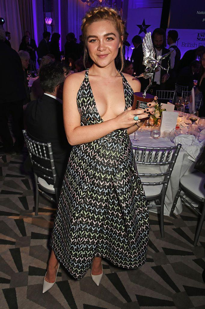 <p>A geometrically-patterned maxi dress was the choice du jour for The London Evening Standard British Film Awards, December 2016.</p>