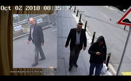 Still images taken from two different CCTV videos and obtained by Turkish security sources claim to show Saudi journalist Khashoggi as he arrives at Saudi Arabia's Consulate and another man allegedly wearing Khashoggi's clothes while walking in Istanbul