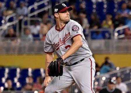 May 25, 2018; Miami, FL, USA; Washington Nationals starting pitcher Max Scherzer (31) throws in the first inning against the Miami Marlins at Marlins Park. Mandatory Credit: Steve Mitchell-USA TODAY Sports