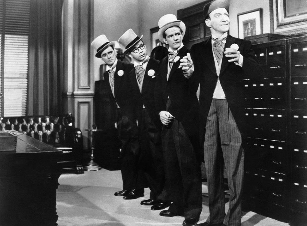 """1958   """"In the Money,"""" the final Bowery Boys film, was released on this date. The comedy series began in 1946 and was the longest feature-length film series ever. Two of its members, Leo Gorcey and Huntz Hall, were even included in the iconic photo for the cover of the Beatles """"Sgt. Pepper's Lonely Hearts Club Band"""" (1967), but Gorcey was painted out of the picture after his agent requested a $400 fee."""