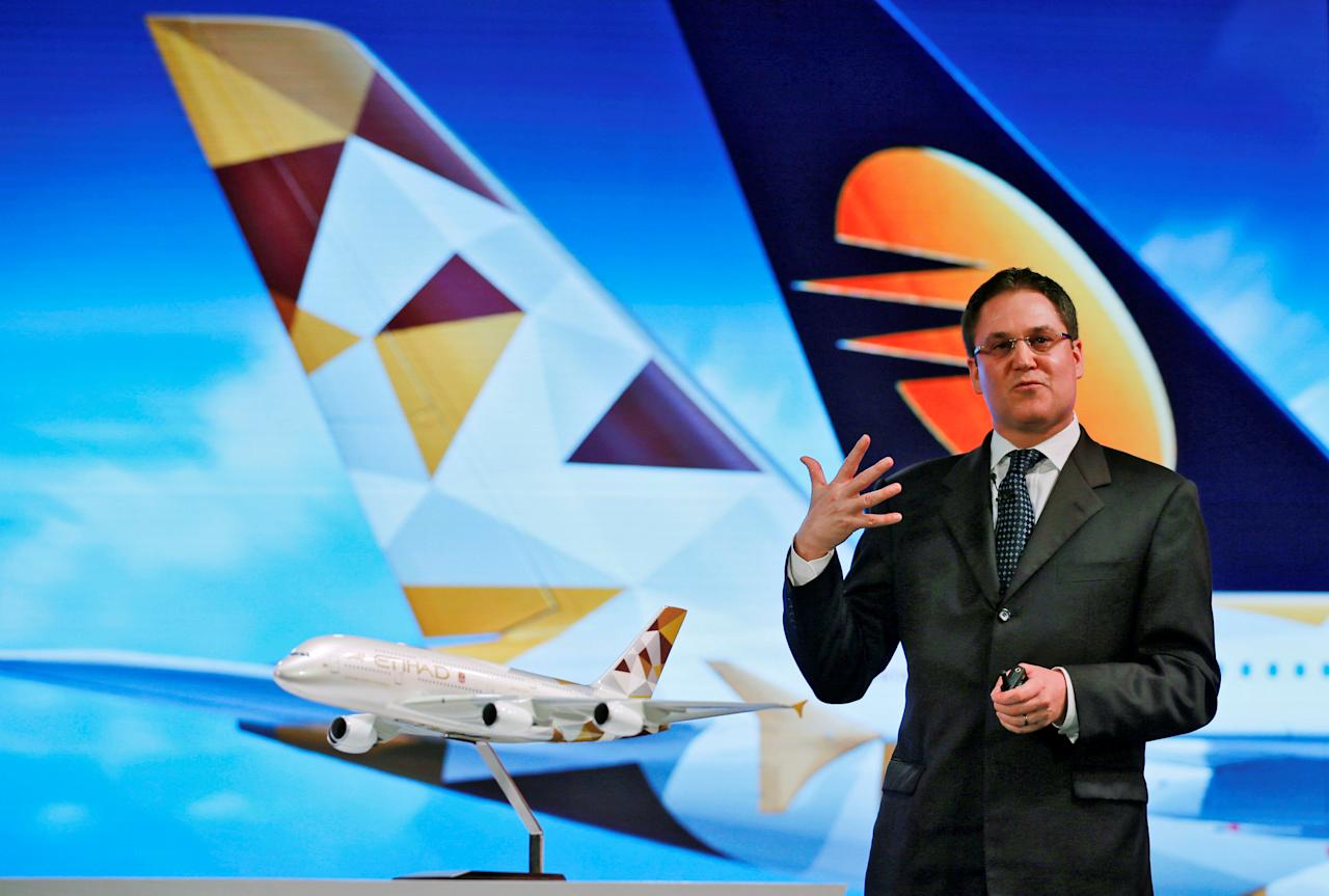 Etihad Airways Chief Commercial Officer Peter Baumgartner speaks during a news conference in Mumbai, India, May 4, 2016. REUTERS/Danish Siddiqui