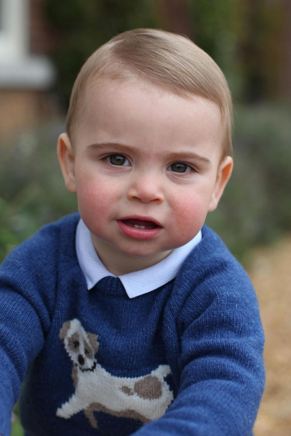Prince Louis posed for his 1st birthday pictures with the blue Trotters jumper on. [Photo: PA]