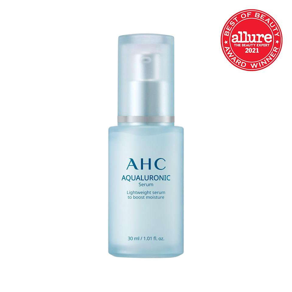 """Similar to notes on a scale, the trio of <a href=""""https://www.allure.com/gallery/best-hyaluronic-acid-serum?mbid=synd_yahoo_rss"""" rel=""""nofollow noopener"""" target=""""_blank"""" data-ylk=""""slk:hyaluronic acids"""" class=""""link rapid-noclick-resp"""">hyaluronic acids</a> in <strong>AHC Aqualuronic Serum</strong> penetrate skin at high, medium, and low levels, tuning your moisture barrier to perfection."""