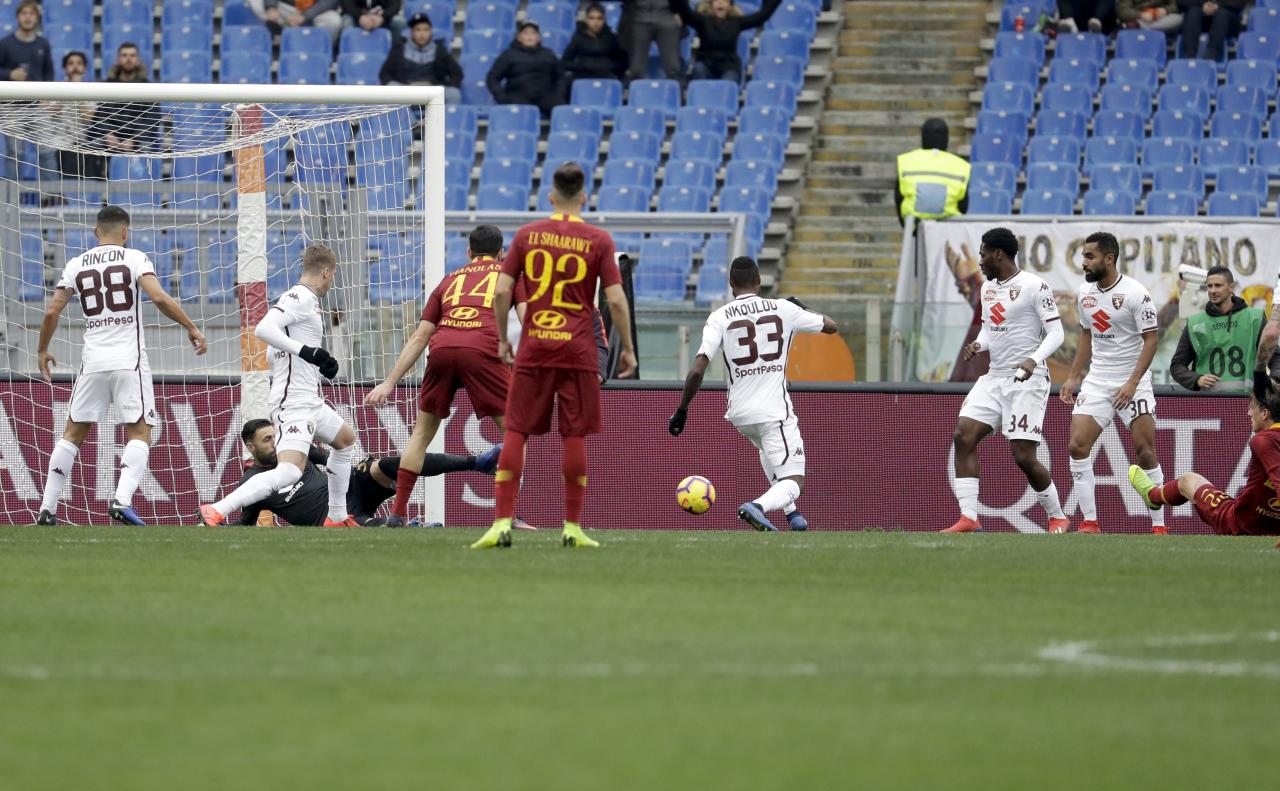 Roma midfielder Nicolo' Zaniolo, right, scores his side's opening goal during a Serie A soccer match between Roma and Torino, at the Rome Olympic Stadium, Saturday, Jan. 19, 2019. (AP Photo/Andrew Medichini)