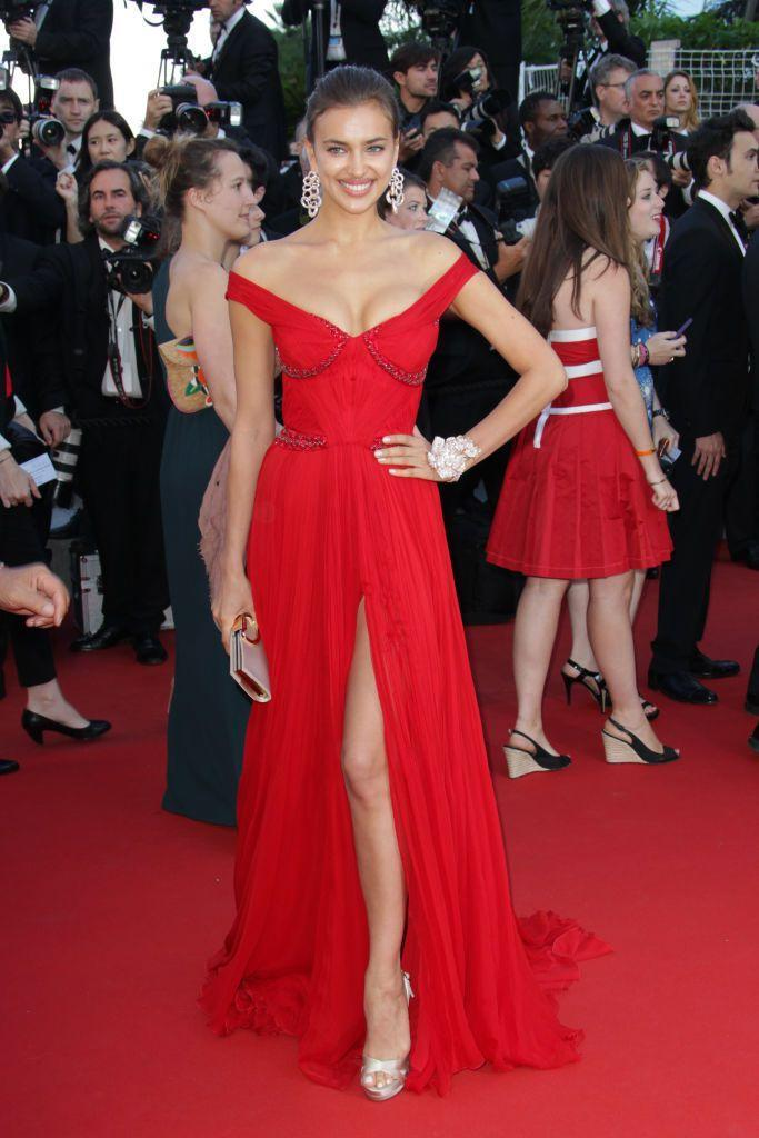 <p>Shayk wore a red off-the-shoulder gown. </p>