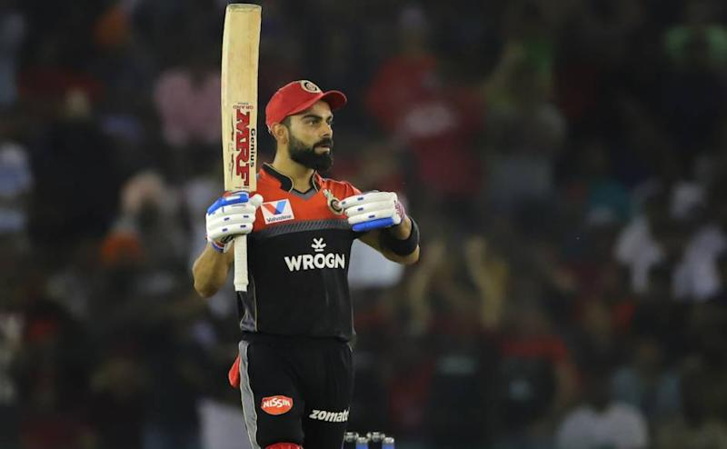 Virat Kohli captain of Royal Challengers Bangalore celebrates his fifty during match 28 of the Vivo Indian Premier League Season 12, 2019 between the Kings XI Punjab and the Royal Challengers Bangalore held at the IS Bindra Stadium, Mohali on the 13th April 2019 Photo by: Deepak Malik /SPORTZPICS for BCCI