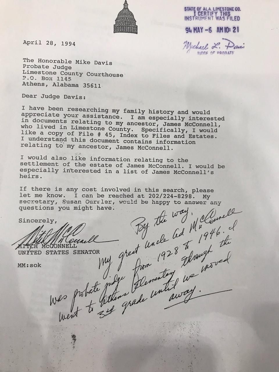 Sen. Mitch McConnell wrote a letter in 1994 requesting records about his family history that included information about the slaves they owned.