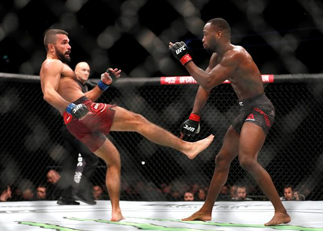 Ultimate Fighting Championship - UFC Fight Night - Peter Sobotta vs Leon Edwards - O2 Arena, London, Britain - March 17, 2018 Peter Sobotta (L) and Leon Edwards (R) in action REUTERS/Matthew Childs